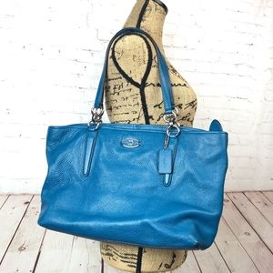 Coach Blue Chicago Ellis Leather Tote Bag Purse